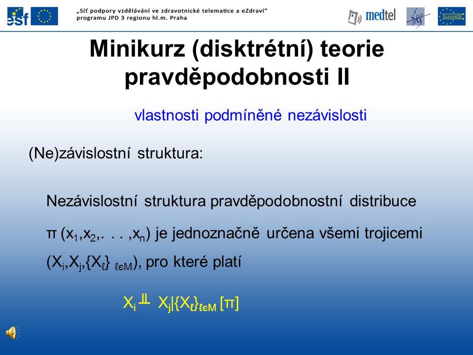 Minikurz (disktrétní) teorie pravděpodobnosti II vlastnosti podmíněné nezávislosti (Ne)závislostní struktura: Nezávislostní struktura pravděpodobnostn
