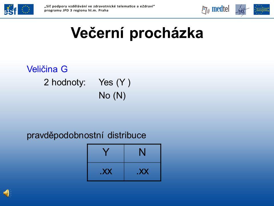 Veličina G 2 hodnoty: Yes (Y ) No (N) pravděpodobnostní distribuce YN.xx Večerní procházka