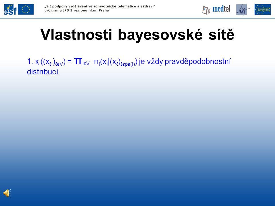 Vlastnosti bayesovské sítě 1. қ ((x ℓ ) ℓєV ) = π iєV π i (x i |(x ℓ ) ℓєpa(i) ) je vždy pravděpodobnostní distribucí.