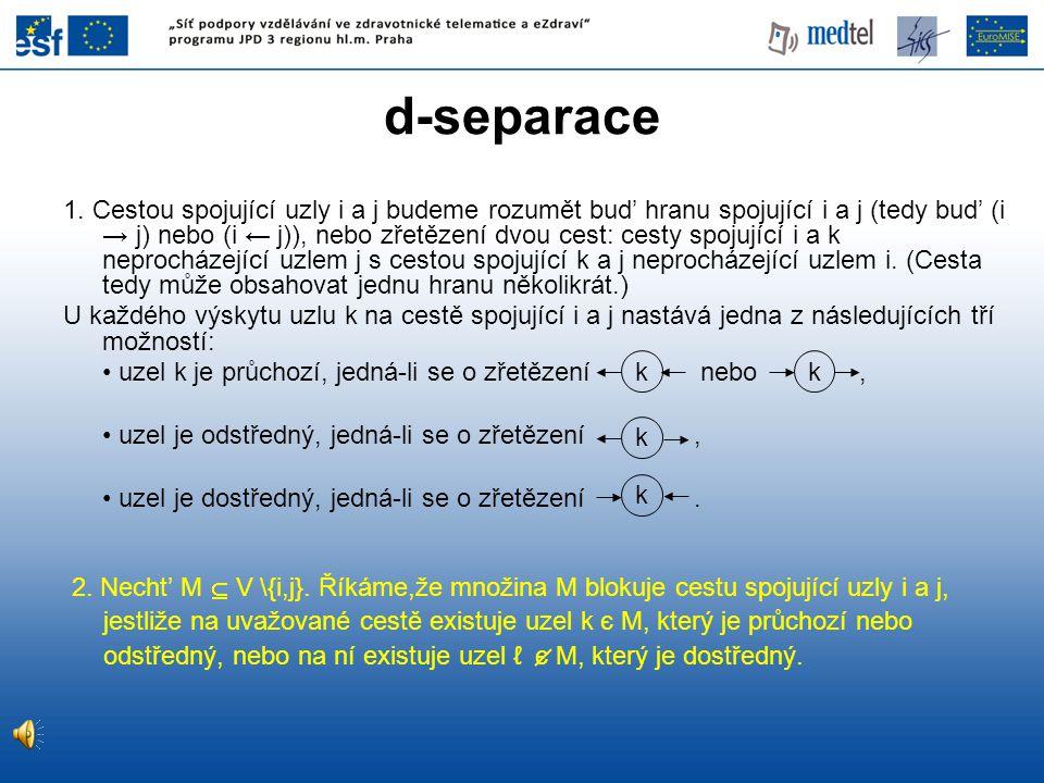 d-separace 2. Necht' M  V \{i,j}. Říkáme,že množina M blokuje cestu spojující uzly i a j, jestliže na uvažované cestě existuje uzel k є M, který je p