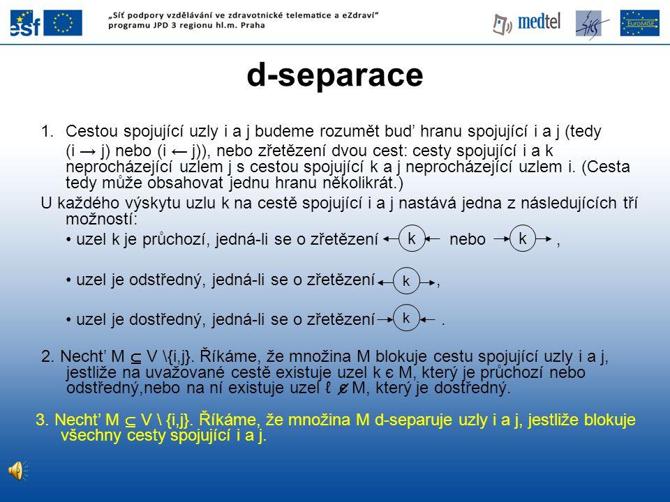 d-separace 2. Necht' M  V \{i,j}. Říkáme, že množina M blokuje cestu spojující uzly i a j, jestliže na uvažované cestě existuje uzel k є M, který je