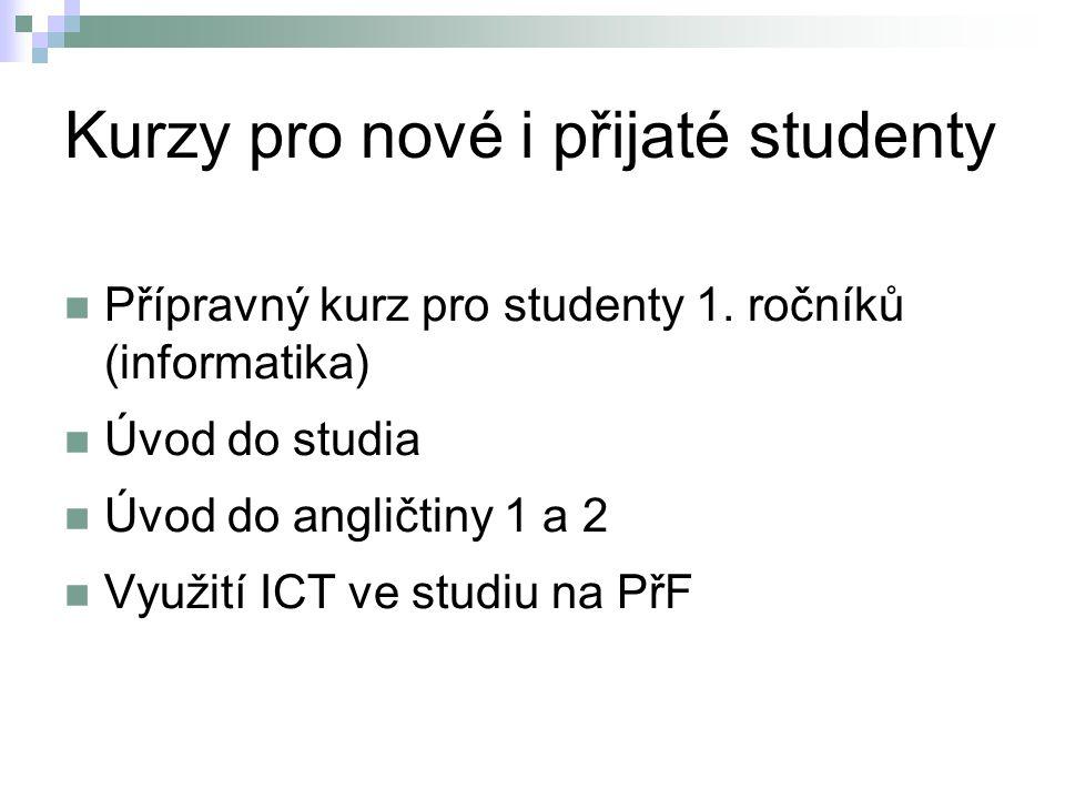 Kurzy pro nové i přijaté studenty Přípravný kurz pro studenty 1. ročníků (informatika) Úvod do studia Úvod do angličtiny 1 a 2 Využití ICT ve studiu n
