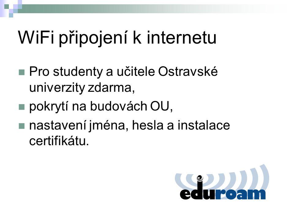 WiFi připojení k internetu Pro studenty a učitele Ostravské univerzity zdarma, pokrytí na budovách OU, nastavení jména, hesla a instalace certifikátu.