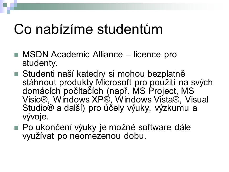 Co nabízíme studentům MSDN Academic Alliance – licence pro studenty. Studenti naší katedry si mohou bezplatně stáhnout produkty Microsoft pro použití