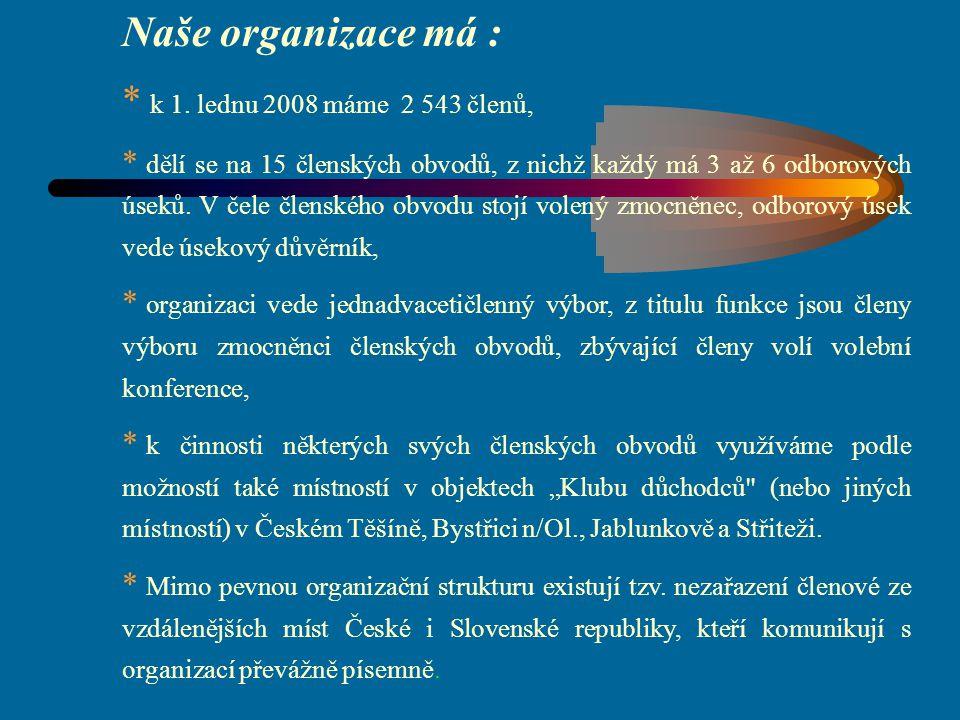 Naše organizace má : * k 1. lednu 2008 máme 2 543 členů, * dělí se na 15 členských obvodů, z nichž každý má 3 až 6 odborových úseků. V čele členského