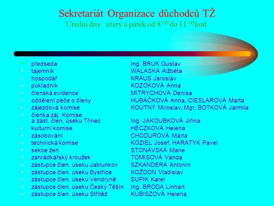 Sekretariát Organizace důchodců TŽ Úřední dny : úterý a pátek od 8' 00 do 11' 45 hod. předsedaIng. BRUK Gustav tajemníkWALASKÁ Alžběta hospodářKRAUS J