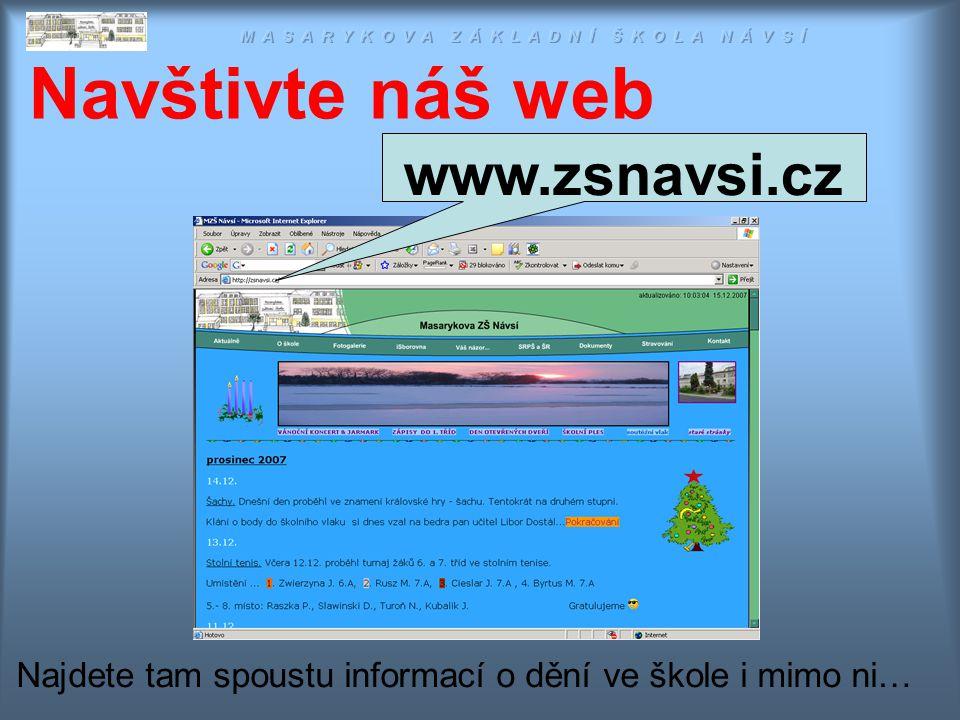 Navštivte náš web Najdete tam spoustu informací o dění ve škole i mimo ni… www.zsnavsi.cz