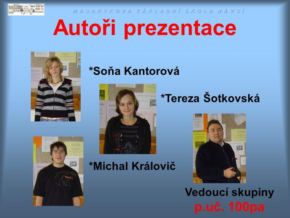 Autoři prezentace D Ě K U J E M E Z A P O Z O R N O S T … Masarykova ZŠ Návsí 2007 Vedoucí skupiny p.uč.