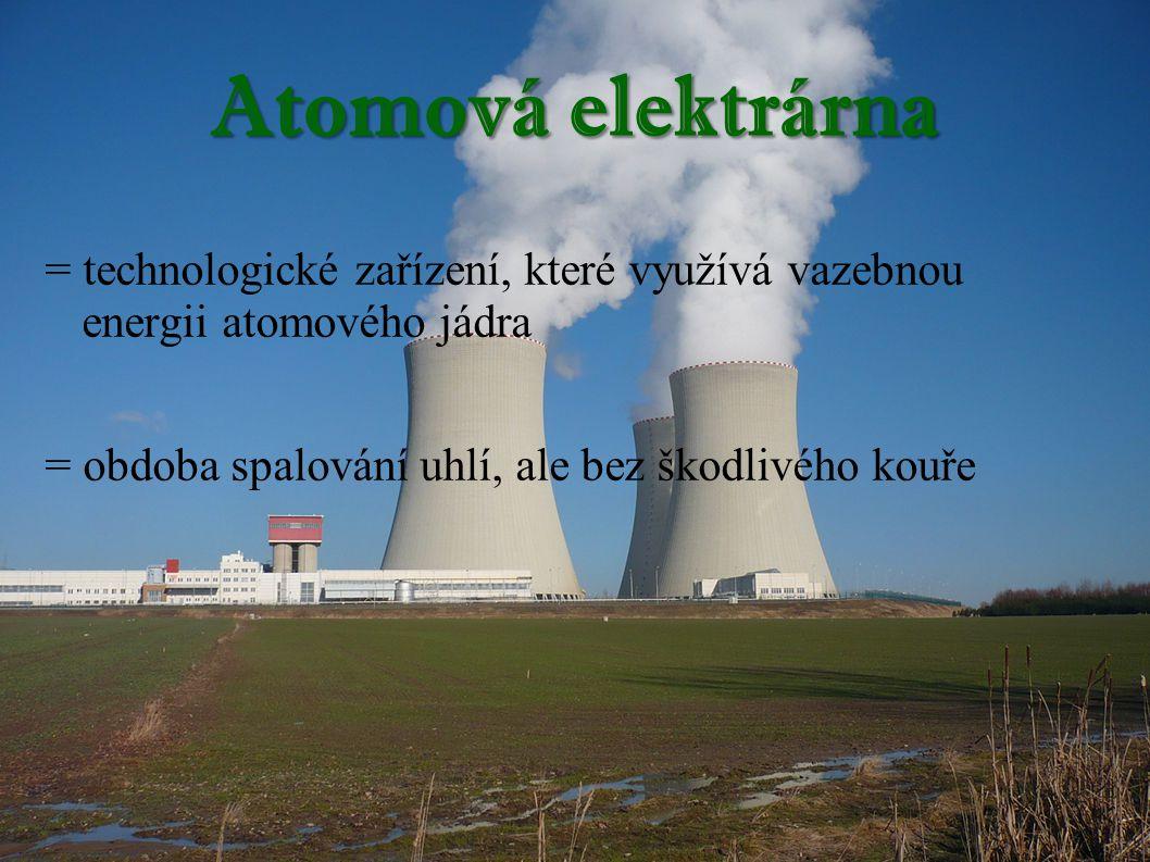 Atomová elektrárna = technologické zařízení, které využívá vazebnou energii atomového jádra = obdoba spalování uhlí, ale bez škodlivého kouře