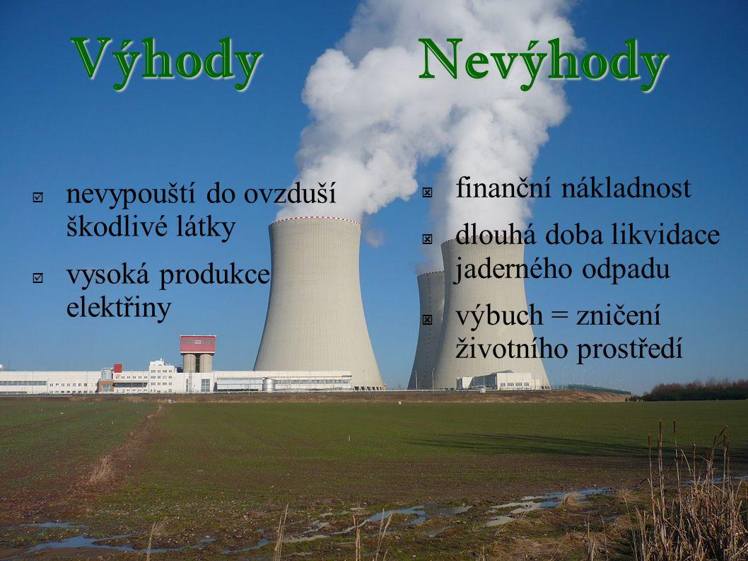 Výhody  nevypouští do ovzduší škodlivé látky  vysoká produkce elektřiny  finanční nákladnost  dlouhá doba likvidace jaderného odpadu  výbuch = zničení životního prostředí Nevýhody
