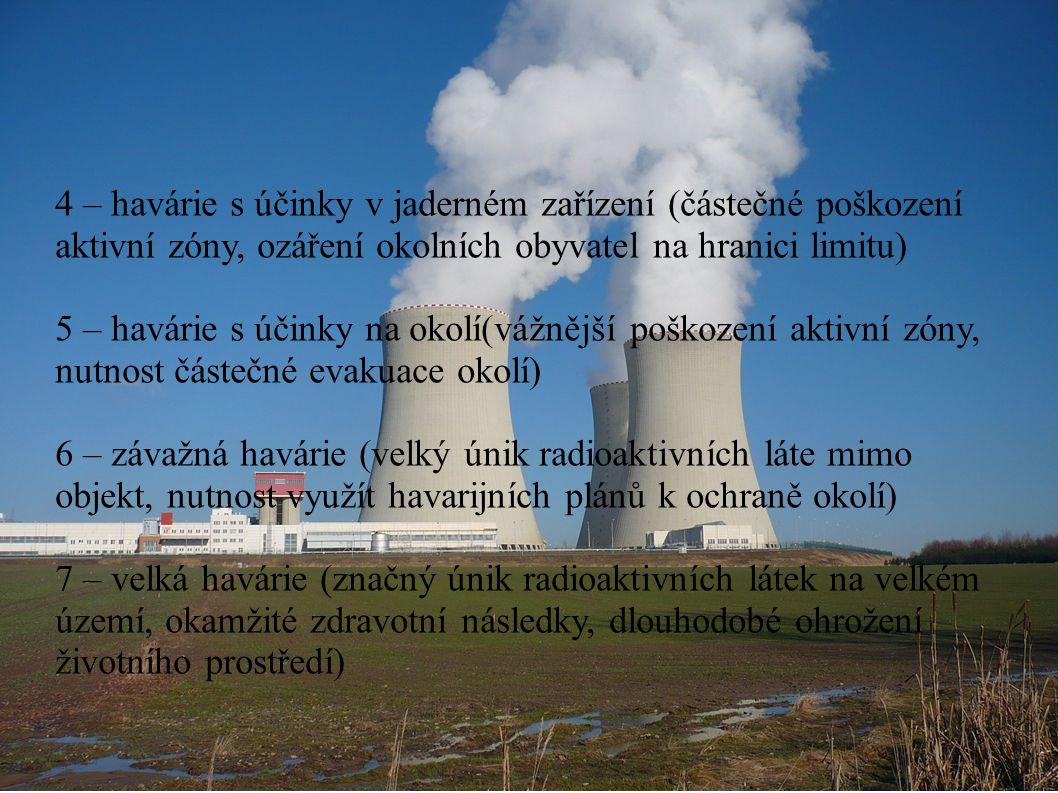 4 – havárie s účinky v jaderném zařízení (částečné poškození aktivní zóny, ozáření okolních obyvatel na hranici limitu) 5 – havárie s účinky na okolí(vážnější poškození aktivní zóny, nutnost částečné evakuace okolí) 6 – závažná havárie (velký únik radioaktivních láte mimo objekt, nutnost využít havarijních plánů k ochraně okolí) 7 – velká havárie (značný únik radioaktivních látek na velkém území, okamžité zdravotní následky, dlouhodobé ohrožení životního prostředí)