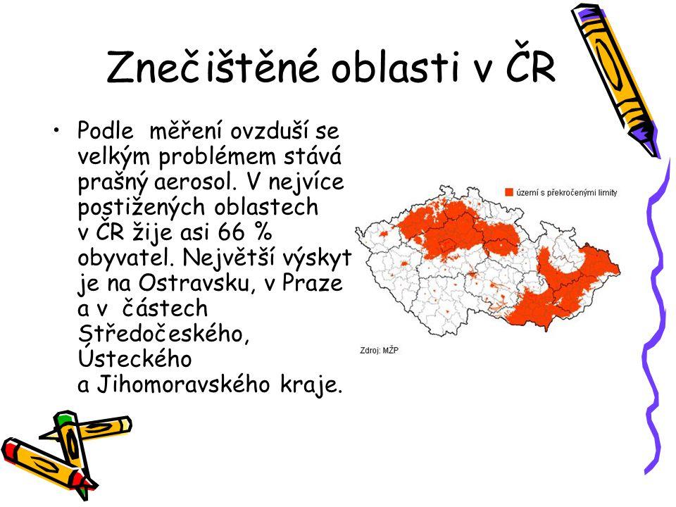 Znečištěné oblasti v ČR Podle měření ovzduší se velkým problémem stává prašný aerosol.