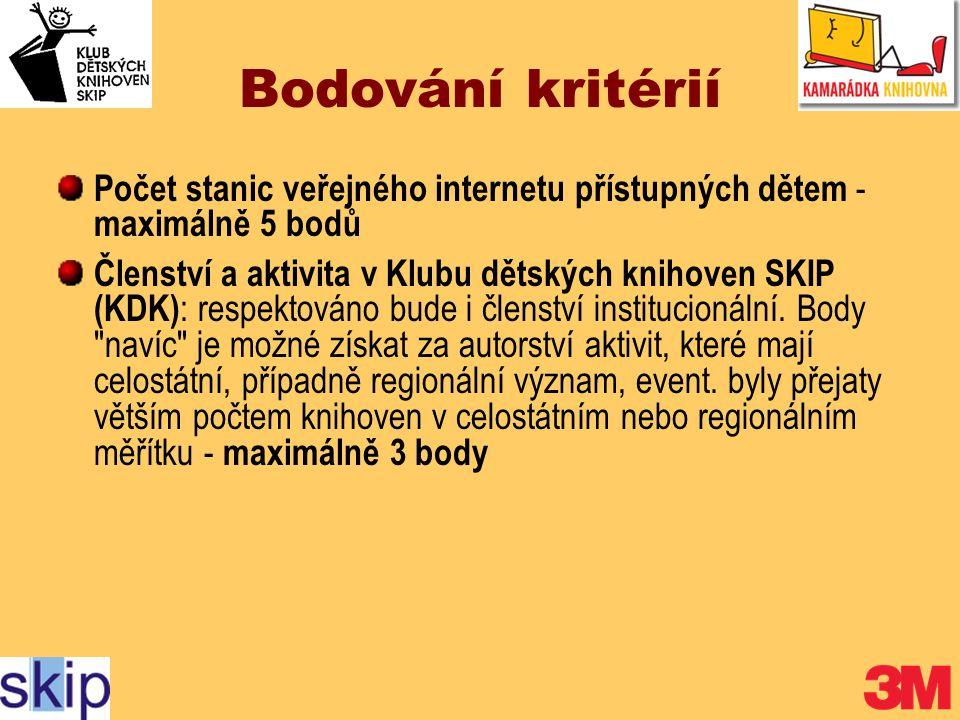 Bodování kritérií Počet stanic veřejného internetu přístupných dětem - maximálně 5 bodů Členství a aktivita v Klubu dětských knihoven SKIP (KDK) : respektováno bude i členství institucionální.