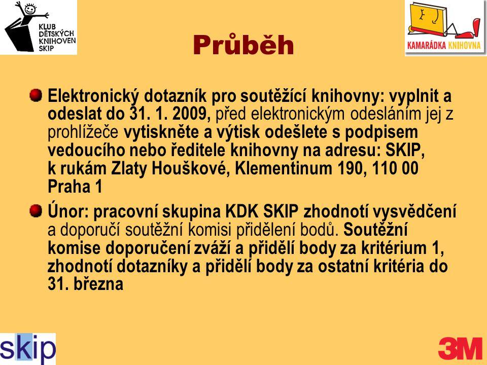 Průběh Elektronický dotazník pro soutěžící knihovny: vyplnit a odeslat do 31.