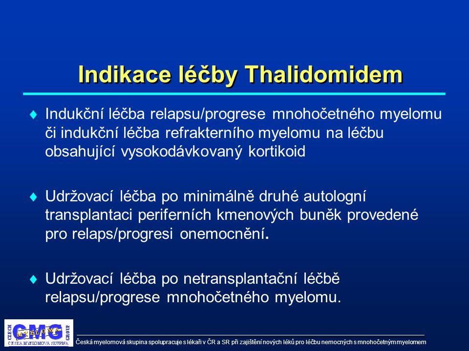 Česká myelomová skupina spolupracuje s lékaři v ČR a SR při zajištění nových léků pro léčbu nemocných s mnohočetným myelomem Indikace léčby Thalidomid