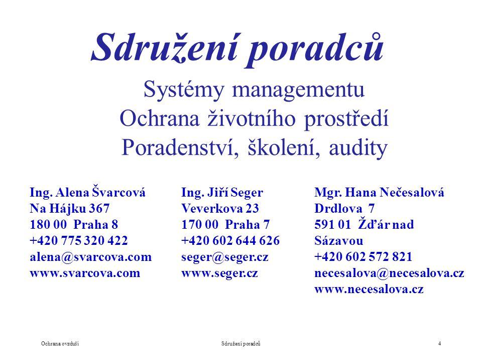 Sdružení poradců Systémy managementu Ochrana životního prostředí Poradenství, školení, audity Ing.