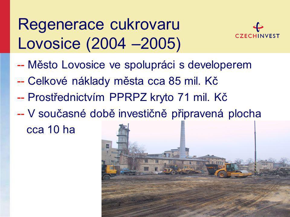 Regenerace cukrovaru Lovosice (2004 –2005) -- Město Lovosice ve spolupráci s developerem -- Celkové náklady města cca 85 mil.
