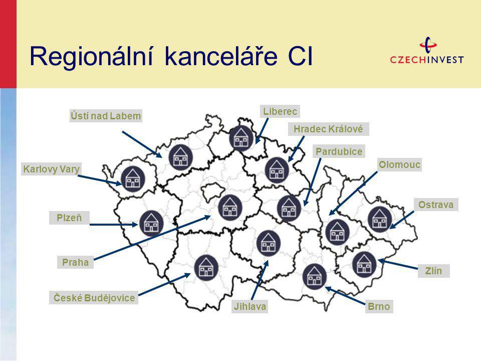 Regionální kanceláře CI Ústí nad Labem Karlovy Vary Plzeň Liberec Hradec Králové Praha České Budějovice JihlavaBrno Zlín Ostrava Olomouc Pardubice