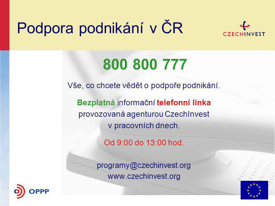 Podpora podnikání v ČR 800 800 777 Vše, co chcete vědět o podpoře podnikání.