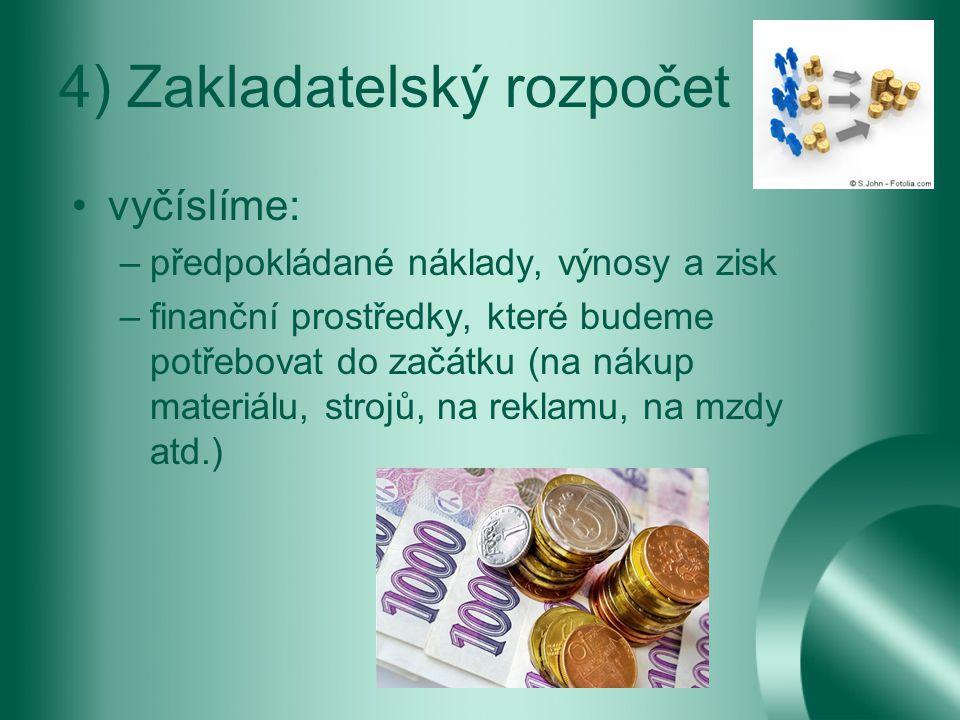 4) Zakladatelský rozpočet vyčíslíme: –předpokládané náklady, výnosy a zisk –finanční prostředky, které budeme potřebovat do začátku (na nákup materiálu, strojů, na reklamu, na mzdy atd.)
