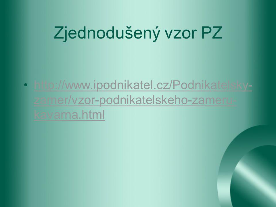 Zjednodušený vzor PZ http://www.ipodnikatel.cz/Podnikatelsky- zamer/vzor-podnikatelskeho-zameru- kavarna.htmlhttp://www.ipodnikatel.cz/Podnikatelsky- zamer/vzor-podnikatelskeho-zameru- kavarna.html