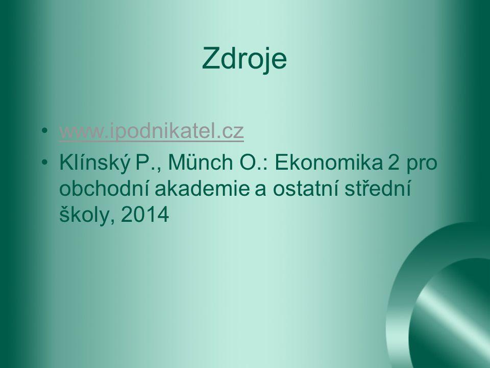 Zdroje www.ipodnikatel.cz Klínský P., Münch O.: Ekonomika 2 pro obchodní akademie a ostatní střední školy, 2014