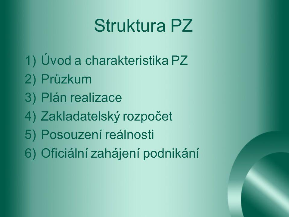 Struktura PZ 1)Úvod a charakteristika PZ 2)Průzkum 3)Plán realizace 4)Zakladatelský rozpočet 5)Posouzení reálnosti 6)Oficiální zahájení podnikání