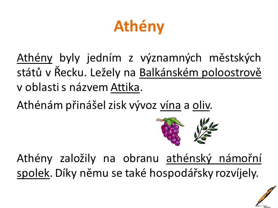 Athény byly jedním z významných městských států v Řecku. Ležely na Balkánském poloostrově v oblasti s názvem Attika. Athénám přinášel zisk vývoz vína