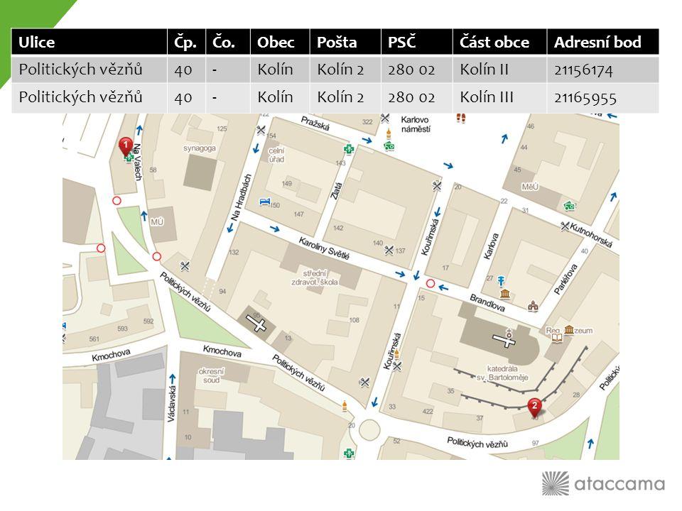2) Standardizace adres