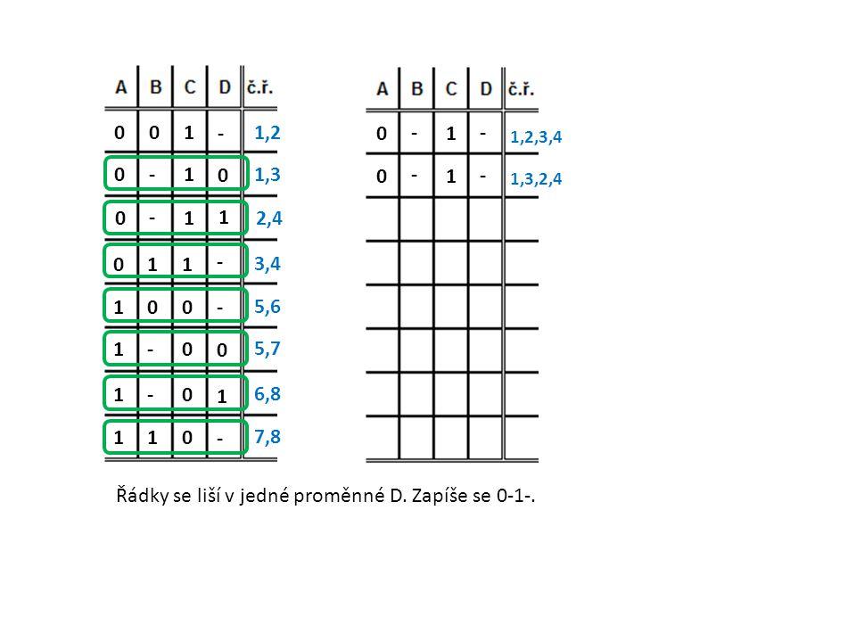 - 1001,2 0 1-01,3 1 1 - 0 2,4 - 1 1 0 3,4 - 0 0 1 5,6 0 0 - 1 5,7 1 0 - 1 6,8 - 0 1 1 7,8 Řádky se liší v jedné proměnné D. Zapíše se 0-1-. - 1 - 0 1,