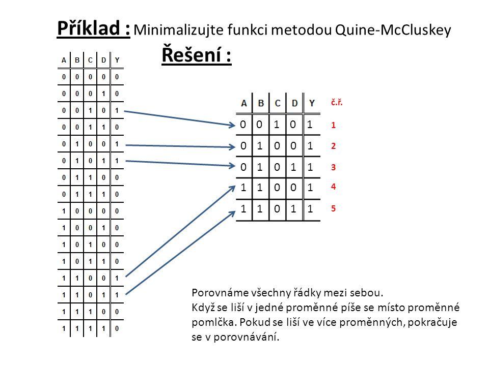 Příklad : Minimalizujte funkci metodou Quine-McCluskey 1 2 3 4 5 Porovnáme všechny řádky mezi sebou. Když se liší v jedné proměnné píše se místo promě