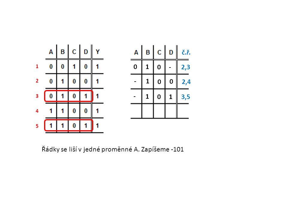 Řádky se liší v jedné proměnné A. Zapíšeme -101 1 2 3 4 5 - 0 1 0 2,3 č.ř. 0 0 1 - 2,4 1 0 1 - 3,5