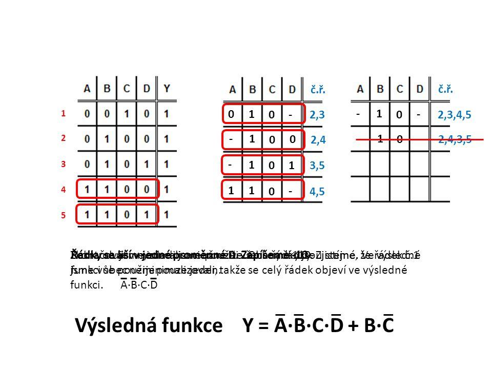 Řádky se liší v jedné proměnné D. Zapíšeme 110- 1 2 3 4 5 - 0 1 0 2,3 č.ř. 0 0 1 - 2,4 1 0 1 - 3,5 - 0 1 1 4,5 - 0 1 - 2,3,4,5 č.ř. - 0 1 - 2,4,3,5 Řá