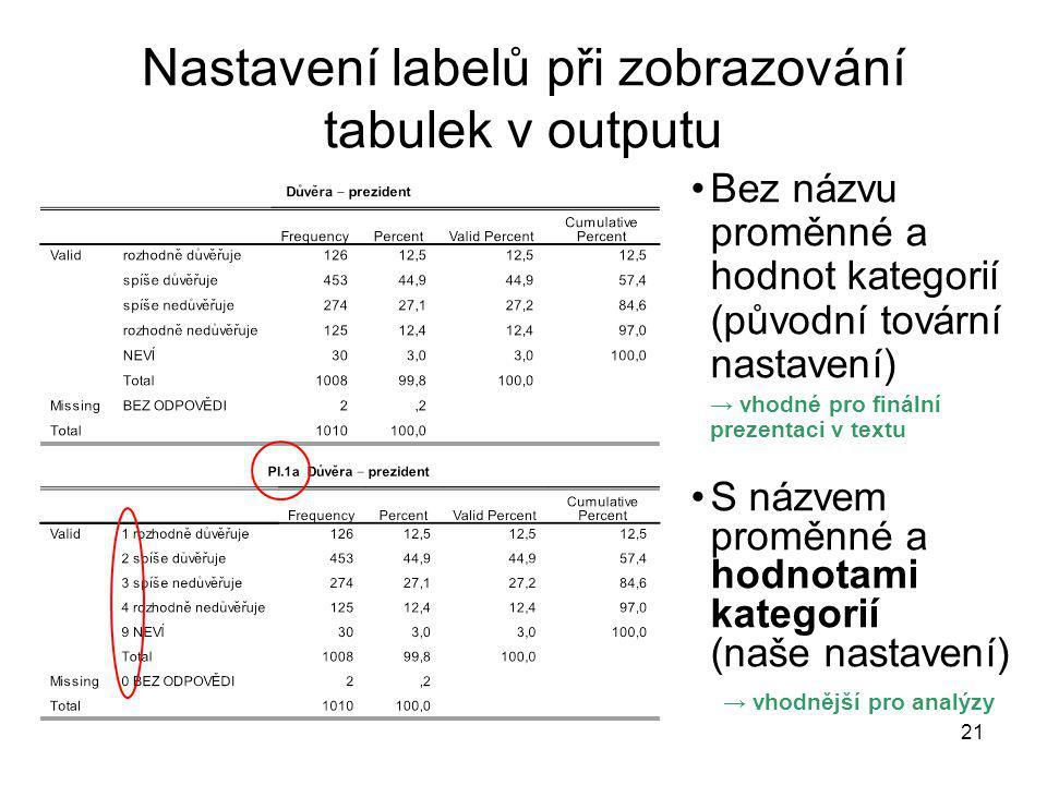21 Nastavení labelů při zobrazování tabulek v outputu Bez názvu proměnné a hodnot kategorií (původní tovární nastavení) → vhodné pro finální prezentac