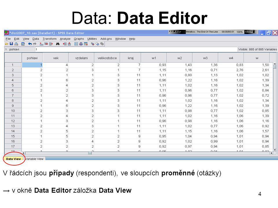 4 Data: Data Editor V řádcích jsou případy (respondenti), ve sloupcích proměnné (otázky) → v okně Data Editor záložka Data View