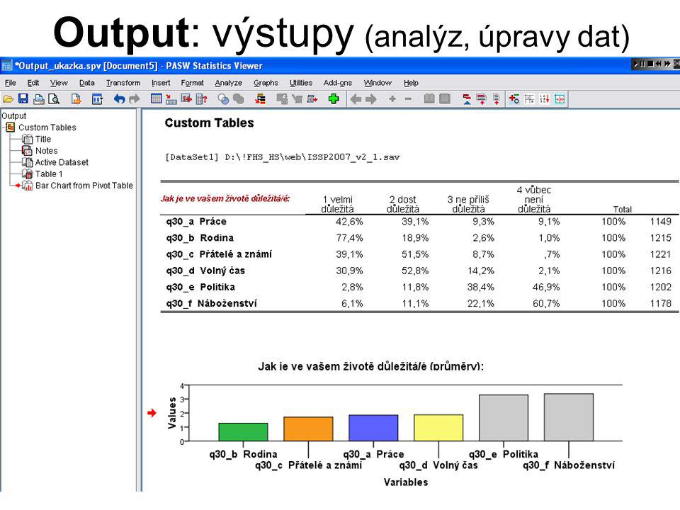 17 Analýzy → Analyze Descriptive statistics Tables Compare means Correlate Data Reduction Nonparametric Tests Missing Value Analysis Multiple Response