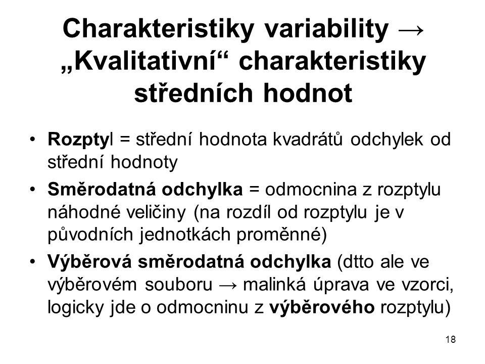 """18 Charakteristiky variability → """"Kvalitativní"""" charakteristiky středních hodnot Rozptyl = střední hodnota kvadrátů odchylek od střední hodnoty Směrod"""