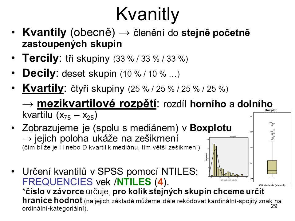 29 Kvanitly Kvantily (obecně) → členění do stejně početně zastoupených skupin Tercily: tři skupiny (33 % / 33 % / 33 %) Decily: deset skupin (10 % / 1