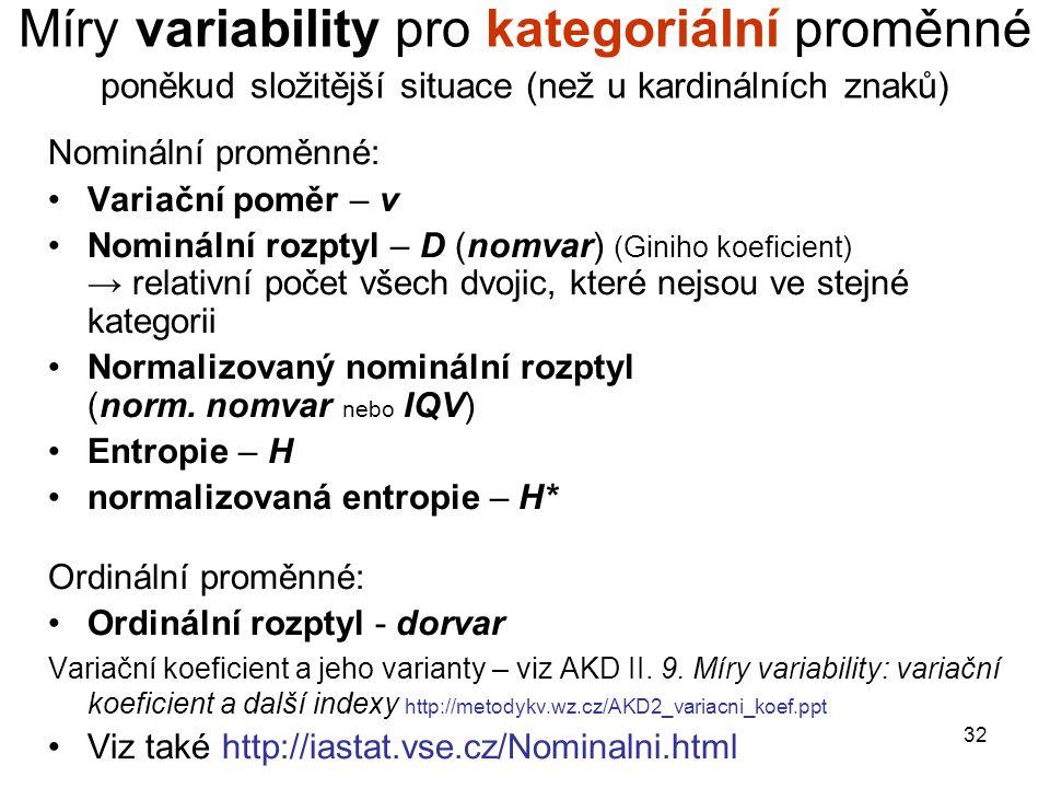 32 Míry variability pro kategoriální proměnné poněkud složitější situace (než u kardinálních znaků) Nominální proměnné: Variační poměr – v Nominální r