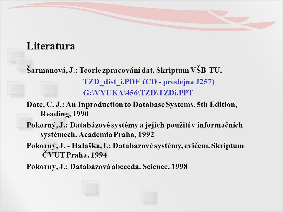 Literatura Šarmanová, J.: Teorie zpracování dat. Skriptum VŠB-TU, TZD_dist_i.PDF (CD - prodejna J257) G:\VYUKA\456\TZD\TZDi.PPT Date, C. J.: An Inprod