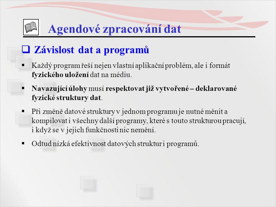 Agendové zpracování dat  Závislost dat a programů  Každý program řeší nejen vlastní aplikační problém, ale i formát fyzického uložení dat na médiu.