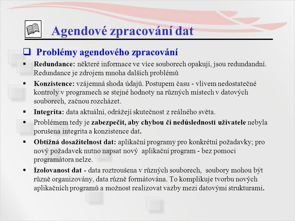 Agendové zpracování dat  Problémy agendového zpracování  Redundance: některé informace ve více souborech opakují, jsou redundandní. Redundance je zd