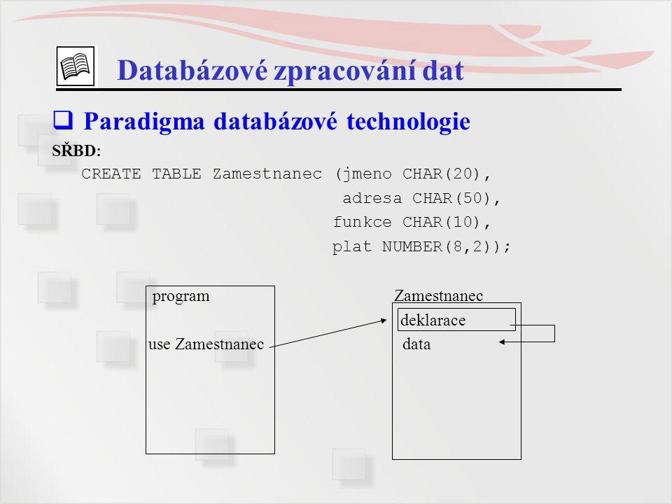 Databázové zpracování dat  Paradigma databázové technologie SŘBD: CREATE TABLE Zamestnanec (jmeno CHAR(20), adresa CHAR(50), funkce CHAR(10), plat NU