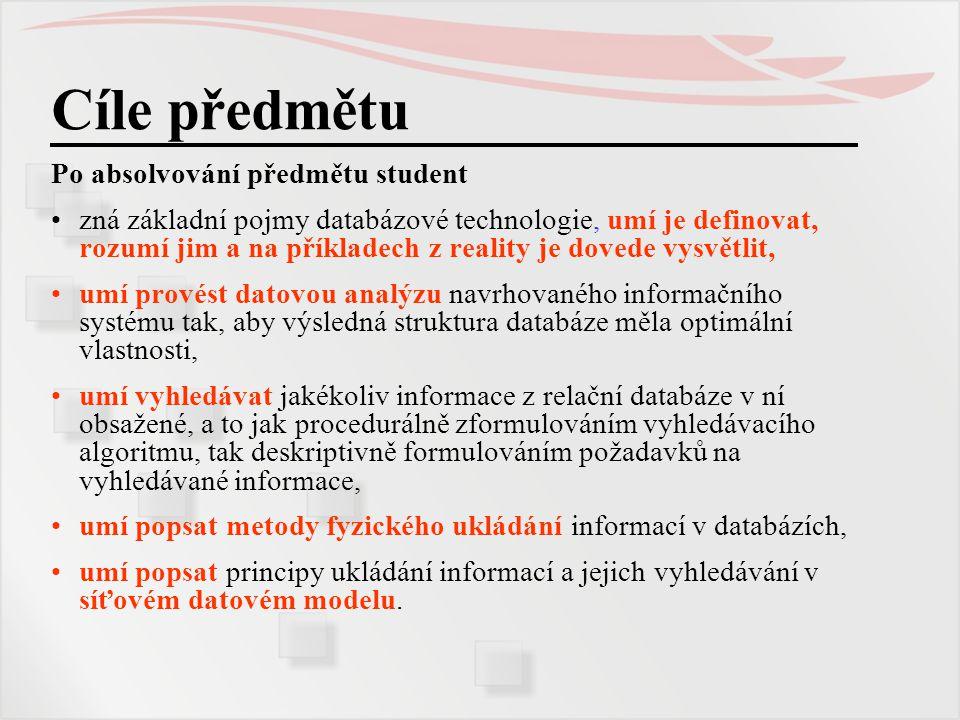 Úlohy zpracování dat Shrnutí pojmů Vést evidenci o objektech znamená zaznamenat vhodně organizované údaje na nějaké médium provádět změny údajů při změně evidované reality provádět výběry informací podle různých kritérií odvozovat a počítat z uložených údajů další třídit údaje dle různých kritérií zaznamenávat vztahy mezi údaji o objektech různých druhů o všech údajích zaznamenaných i odvozených vydávat informace ve vhodné grafické úpravě Informačním systémem obecně nazýváme organizaci údajů vhodnou pro systémové zpracování dat: pro jejich sběr, uložení a uchování, zpracování, vyhledávání a vydávání informací o nich, to vše pro účely rozhodování.