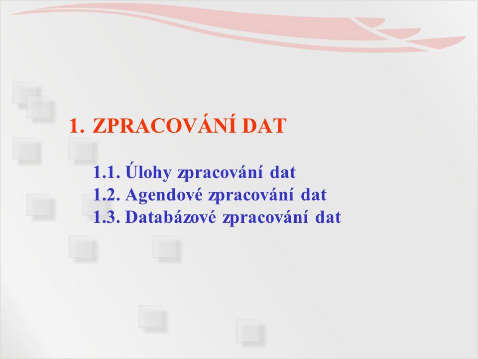 1.ZPRACOVÁNÍ DAT 1.1. Úlohy zpracování dat 1.2. Agendové zpracování dat 1.3. Databázové zpracování dat