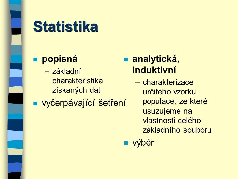 Sběr dat n Vztah základní soubor x výběr –každý prvek základního souboru musí mít stejnou pravděpodobnost, že se stane prvkem výběru!!!.