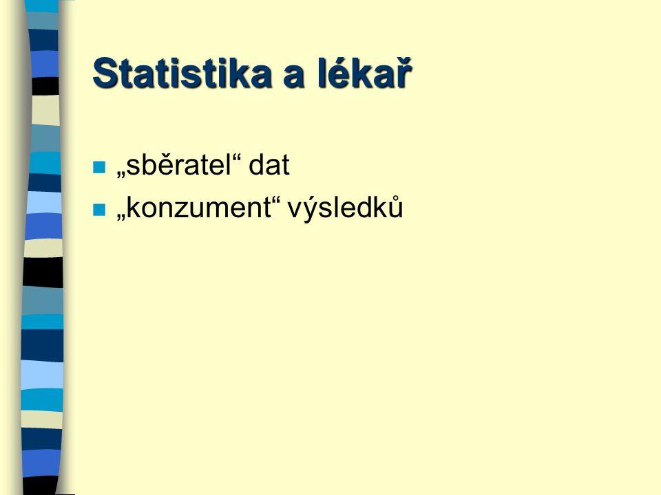 Statistika se zabývá variabilitou měření n Metodologická, přesnost měření n Časová, v rámci individua = intraindividuální variabilita n Interindividuální variabilita = populační