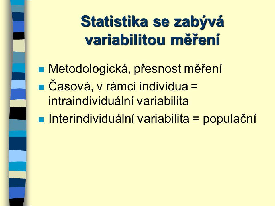 Statistické testy parametrické (pro normální nebo téměř normální rozložení) neparametrické (pro jiné než normální rozložení) testy nepárovépárové t-test nezávislý (klasický t-test, two-sample) Mann-Whitney (=Wilcoxon nezávislý) mediánový test t-test závislý (one-sample) Wilcoxon závislý znaménkový test srovnání parametru mezi 2 skupinami objektů srovnání parametru u stejných objektů v časové souslednosti