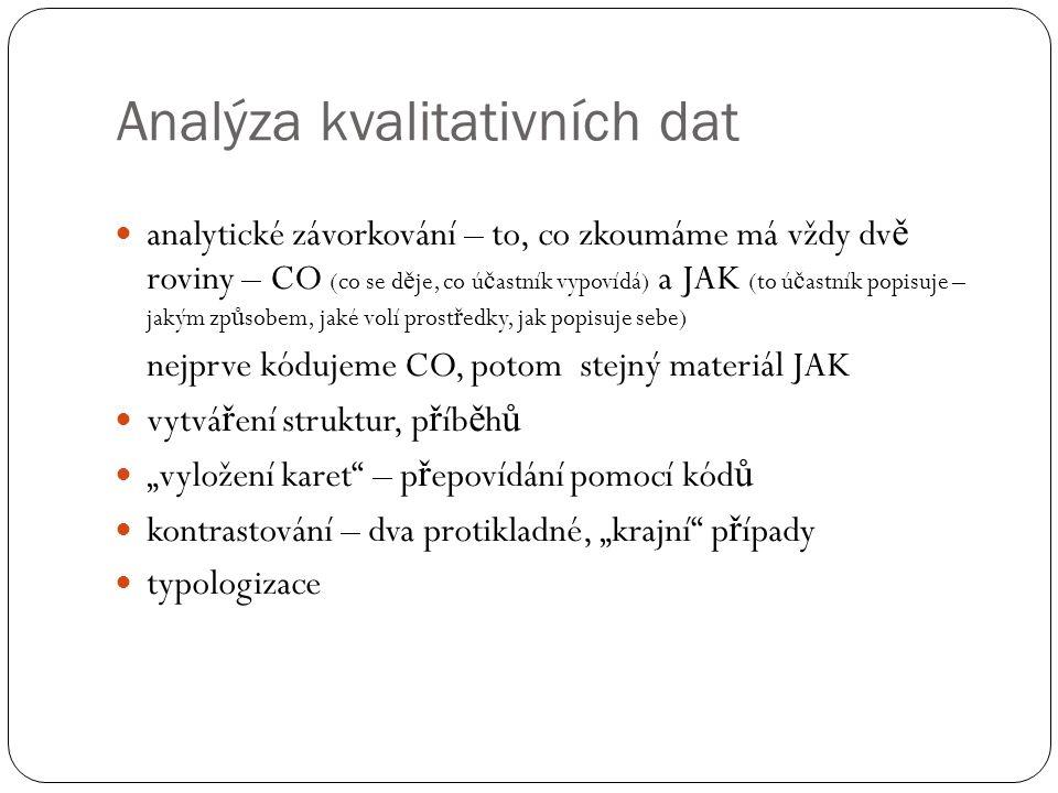Analýza kvalitativních dat analytické závorkování – to, co zkoumáme má vždy dv ě roviny – CO (co se d ě je, co ú č astník vypovídá) a JAK (to ú č astn
