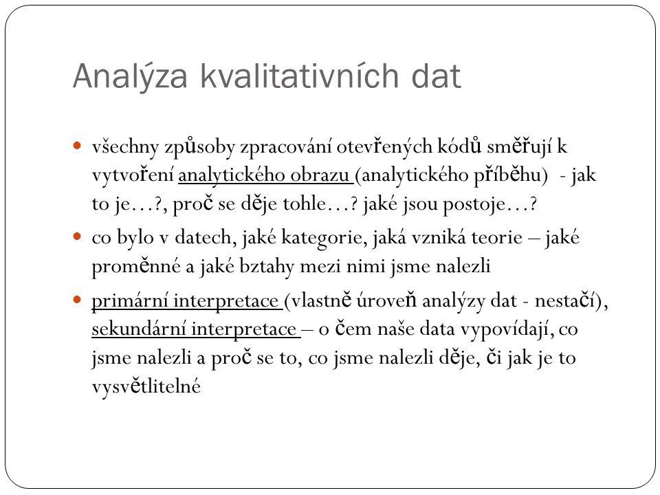 Analýza kvalitativních dat všechny zp ů soby zpracování otev ř ených kód ů sm ěř ují k vytvo ř ení analytického obrazu (analytického p ř íb ě hu) - ja